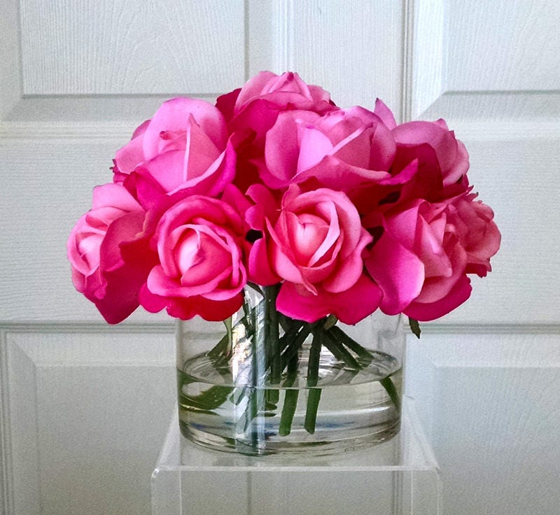 Large Real Touch Flower Arrangement-Rose Arrangement-Silk Arrangement -Silk flowers-Pink Roses-Silk faux arrangement -White Real Touch Roses