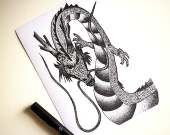 Dragonball Z Shenron, Anime, Stippling Black And White Ink Drawing, Giclee Print