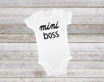 Mini Boss, baby mini boss, baby boss, new baby onesie, onesie, baby onesie, shower gift, who is the boss, the boss, funny baby onesie