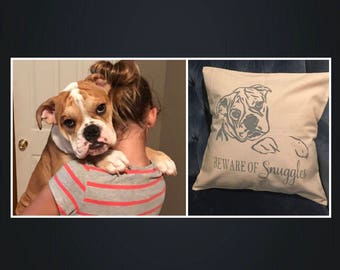 Valentine's Day, Gift for her, Dog lover gift, Beware of Dog, Custom Dog Pillow, Hand Painted Pet, Dog, Pet Memorial, Dog