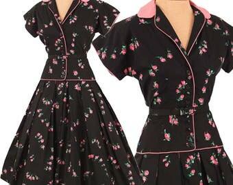 50s Black Rose Print Swing Dress-1950s Shirtwaist Style Dress-Pink Rose Print-Tea Length-Cotton-Fit and Flare-New Look-Drop Waist-Full Skirt