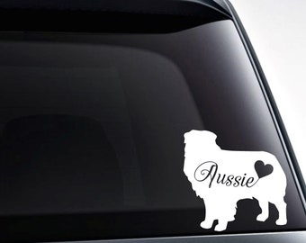 Australian Shepherd / Aussie Heart Vinyl Decal Sticker / Car Windows, Tumblers, Laptop Decals