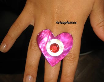 Fuchsia mother of Pearl, faceted Red Stone heart Adjustable ring