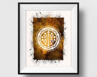 Shri Yantra Print, Yoga Decor, Shri Yantra Art, Spiritual Wall Decor, Yoga Sign, Yantra Symbol Painting, Oriental Art Decor (N532)
