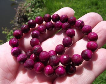4 beads FACETED 8 mm pink Tiger ŒIL a.