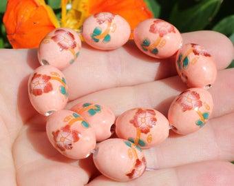 2 large 17 X 13 MM multicolor ceramic beads.