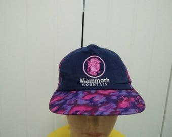 Rare Vintage MAMMOTH MOUNTAIN Patchwork Design Big Logo Embroidered Cap Hat Free size fit all Made in Denver Colorado