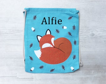 Personalised Kids Fox Draw String Bag - Custom Children's Bag - Embroidered Name