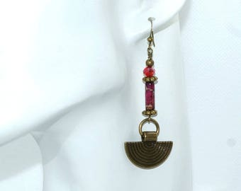 Ethnic earrings, bronze, Jasper and crystal. Designer jewelry