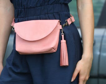 Pink leather waist bag-Pink fanny pack Leather belt bag Pink leather bag Pink leather wallet Tassel bag Leather traveler bag Leather wallet
