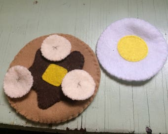 2 Felt pancakes with syrup and butter, banana slices and egg play food  great 4 young boy or girl children including toddlers