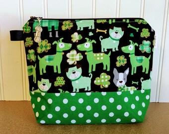 Knitting Project Bag, St Patrick's Day Knitting Bag, Knitting Pouch, Sock Project Bag, Zippered Knitting Bag, Knitting Accessory Bag