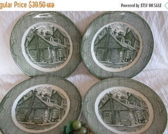 """SALE Set of 4 Royal China 10"""" Dinner Plates - The Old Curiosity Shop, Green"""