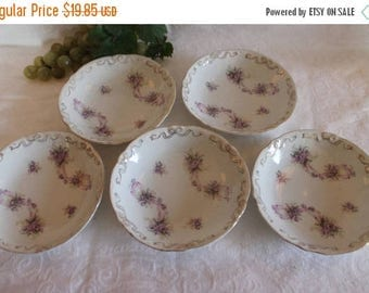 """SALE Set of 5 Antique White Porcelain 5.5"""" Bowls with Gold Bows and Purple Flowers"""