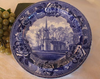 "Antique Wedgwood Etruria Blue Transfer Collector 9.25"" Dinner Plate - First Church in Orrville, Ohio, Christ Reformed Church"