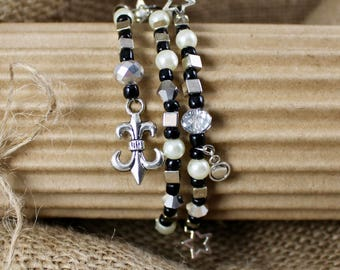 BLACK, WHITE and SILVER Beaded Wrap Bracelet, 3+ Wraps Memory Wire. Black Beads, Silver Cubes, Pearls and Lots of Charms. French Charms.
