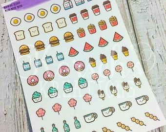 Kawaii Icons Nom Nom Nom - Food Stickers - Kawaii Food Stickers - Junk Food - Stickers - Kawaii - Kawaii Stickers - Kawaii Food