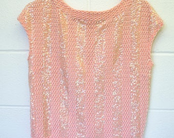 1950s Pink beaded and sequined sleeveless evening top, Ladies  size small - medium Vintage top