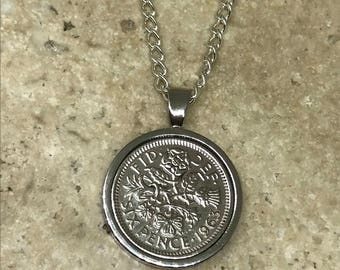 1963 55th Lucky sixpence coin pendant necklace silver plated
