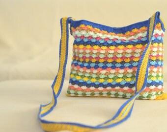 Multicoloured knitted shoulder bag,Knitted hand bag,Knitted handbag, Braided bag,Stylish desinged bag, Crochet bag