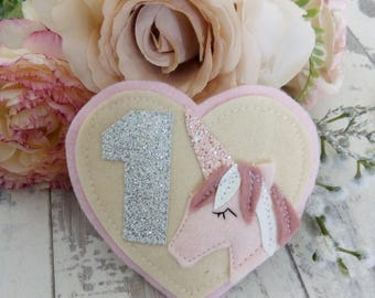 Heart unicorn birthday badge