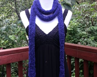 Dark Purple Skinny Scarf. Long Bohemian Scarf.  Summer scarf Hippie Gypsy Thin knitted Women's Fashion Accessory Vegan Friendly Gift for her
