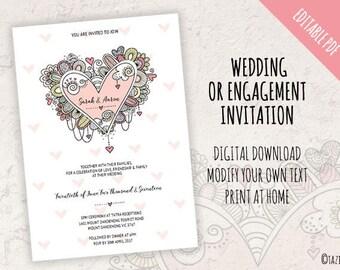 Wedding or Engagement Invitation | EDITABLE PDF | Instant Digital Download | Modern Full Colour Original Doodle Design