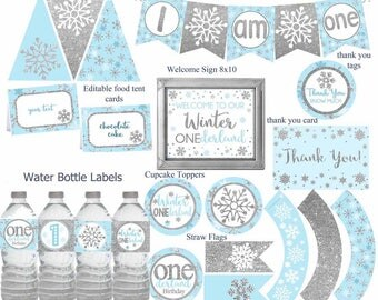Winter ONEderland party decorations, Blue and Silver Party Decorations, Winter Birthday, Winter 1st birthday party package, Digital File.