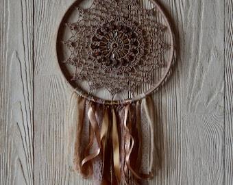 Brown dreamcathcer-newborn props-nursery decor-boho home-bohemian-handmade Dreamcatcher-floral dreamcatcher-bohemian accessories-boho chic