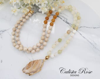 Druzy necklace Earthy Necklace Long Beaded necklace Ivory gemstone Necklace Boho mala necklace Rustic Necklace Quartz Neckace - Nature