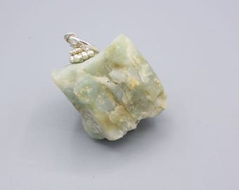 Amazonite Pendant - Amazonite rough Pendant - raw Amazonite Pendant - 925 Silver - dusty Amazonite