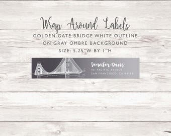 Wraparound Mailing Address Label - Golden Gate Bridge Outline - Grey Ombre