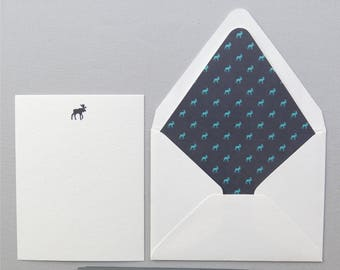Moose Stationery - Set of Four - Moose Note Cards - Traveler's Stationery - Navy and Teal Cards