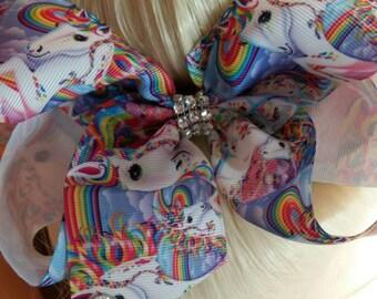 "JoJo Siwa inspired Large 7"" hair bow clip , Rainbow hair bow clip,  Unicorn hair bow clip"