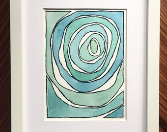Blue abstract watercolor painting original watercolor handmade painting blue watercolor blue painting blue abstract modern minimalist art