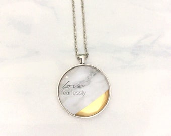 Love Fearlessly Gold Dipped Marble Pendant Necklace