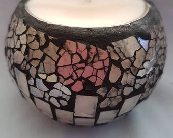 Gorgeous clear mosaic soy wax candle