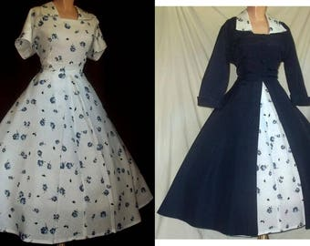 Vintage 1950s New Look Fit and Flare 2 Pc. Floral Print Cotton/Rayon Dress & Navy Blue Faille Cutaway Coat Ensemble