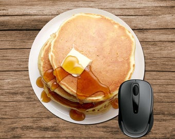 Pancakes Mouse Pad, Pancakes with Butter and Syrup, Round Mouse Pad, Funny Mouse Pad, Office Gift, Co-Worker Gift, Boss Gift, Student Gift