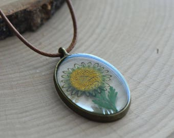 Double Sided Glass Nature Preserved Yellow Flower  Necklace - Vintage Style (BC009)