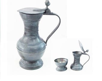 Antique Pewter Flagon, Two Pieces that convert into a Cup, Vintage Metal Stein or Tankard