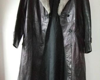 1960s navy blue and grey long leather/fur collar coat sz 14/vvsmall 16