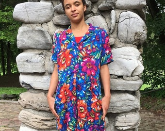 Vintage 80's Vibrant Floral Tropical Romper Medium