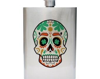 St Patrick's Day Inspired Sugar Skull 8oz Stainless Steel Flask
