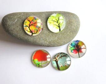 5 tree of life 25 mm glass cabochons