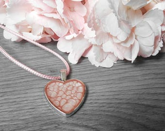 Pink Heart Pendant - Heart Necklace - Painted Heart Pendant - Silver Heart Necklace - Wearable Art - OOAK Pendant - Gift For Her