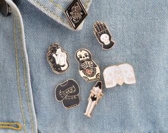 1 Enamel Pin,Skull Pin,Skeleton Brooch,Enamel Pins,Cartoon Enamel Pins,Hard Enamel Pins,Horror Pins,Brooches,Pins,Enamel Pin Set Lot #1/10