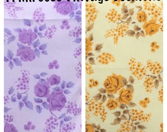 """1970's 14"""" 16"""" Yellow Or Purple Floral Cushion Cover Shabby Chic, Country Cottage, Retro, True Vintage"""