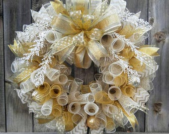 Gold Christmas wreath, gold and ivory Christmas wreath, Christmas mesh wreath, elegant Christmas wreath, gold mesh wreath