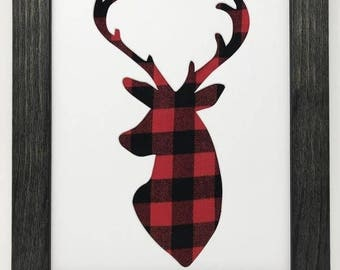 "11x14 1.75"" Rustic Black Frame with Deer and Buffalo Plaid"